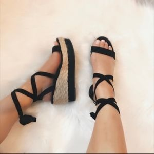 Last few! Lace up Espadrille Sandal Wedge